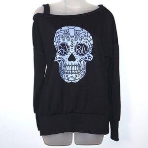 Off Shoulder Black Rock&Roll Top w Skull Design, S